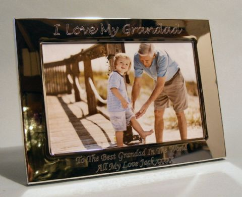 Personalised Silver Plated Photo Frame I Love My Grandad Grandpa Gift